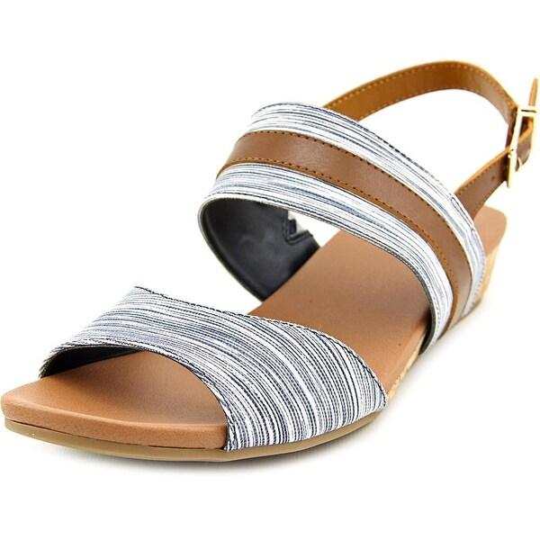 Dr. Scholl's Minka Women Open Toe Canvas Blue Sandals