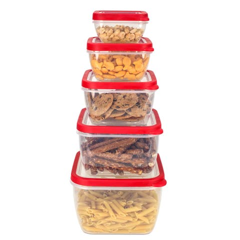 Home Basics Clear and Red 5-piece Storage Container Set