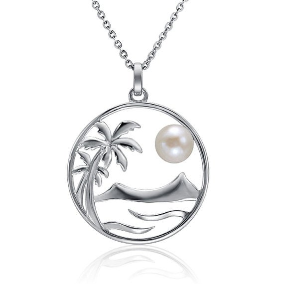 "Beach Landscape Pearl Pendant Sterling Silver Necklace 18"" Chain"