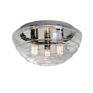 Besa Lighting 906361C-EDI Wave 3 Light Flush Mount Ceiling Fixture with Clear Shade and Vintage Edison Bulb
