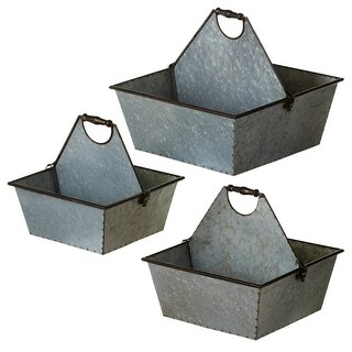 """Set of 3 Distressed Gray Galvanized Divided Caddy with Handle 15"""""""