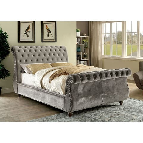 Furniture of America Cown Contemporary Flannelette Tufted Sleigh Bed