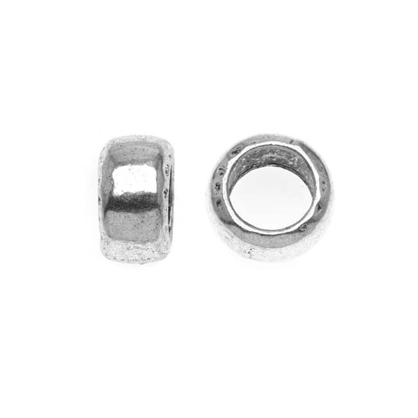 Lead-Free Pewter Silver European Style Large Hole Beads, Classic Smooth 5.5x10mm, 2 Pieces, Antiqued Silver