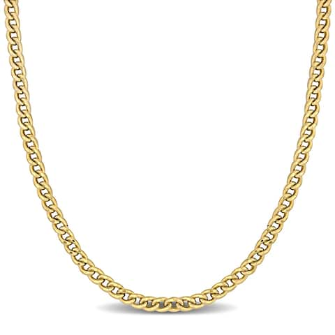 Miadora 10k Yellow Gold Square Curb Link Chain Necklace - 24 inch x 4.5 mm x 4.5 mm - 24 inch x 4.5 mm x 4.5 mm