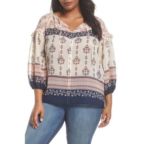 Vince Camuto Beige Women's Size 2X Plus Floral Peasant Blouse