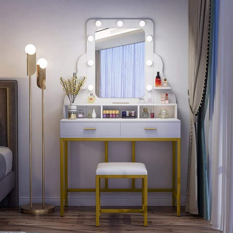 Vanity Table Set with Lighted Mirror, Vanity Desk with 2 Drawers and Stool
