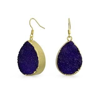 Bling Jewelry Gold Plated Brass Dyed Purple Druzy Agate Teardrop Dangle Earrings