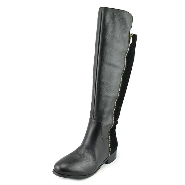Trotters Larule Women Round Toe Leather Black Knee High Boot