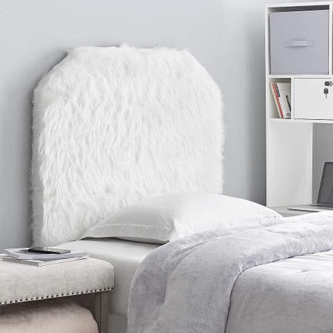 Mo' Heaven College Headboard - Plush Furry Fur White