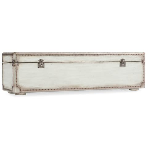 """Hooker Furniture 1610-90019-WH Arabella 60"""" Wide Maple and Metal Bench - Distressed White Crackle"""