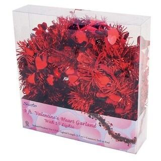 Sienna 36806511 Prelit Heart Tinsel Garland, Red, 9'