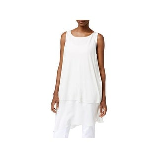 Eileen Fisher Womens Petites Tunic Top Silk Contrast