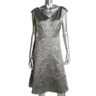 Anne Klein Womens Metallic Knee-Length Cocktail Dress - 12
