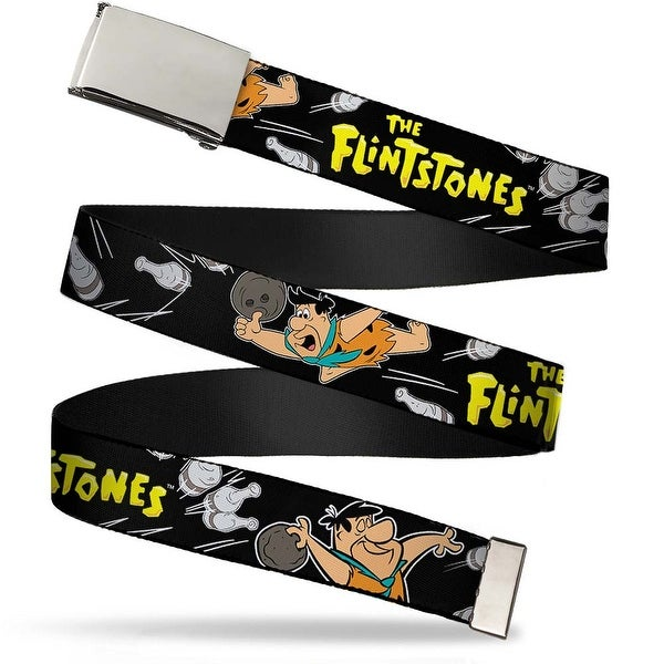 Blank Chrome Buckle The Flintstones Fred Bowling Poses Bowling Pins Web Belt