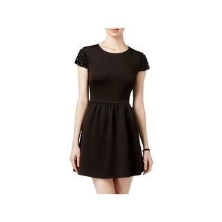 B. Darlin Womens Juniors Scuba Dress Embellished Cap Sleeves