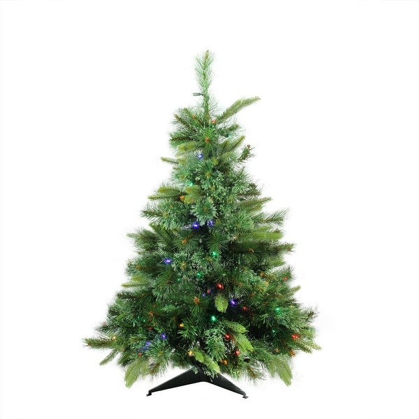 """3' x 29"""" Pre-Lit Cashmere Mixed Pine Full Artificial Christmas Tree - Multi LED Lights - green"""