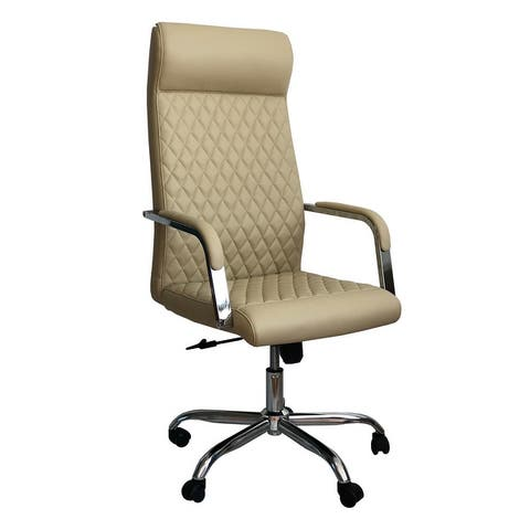 Adjustable Diamond Stitched Ergonomic Leatherette Office Chair with Casters, Beige and Chrome