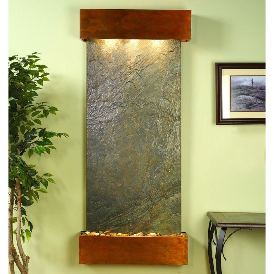 Adagio Inspiration Falls With Green Featherstone in Rustic Copper Finish and Squ - Thumbnail 0