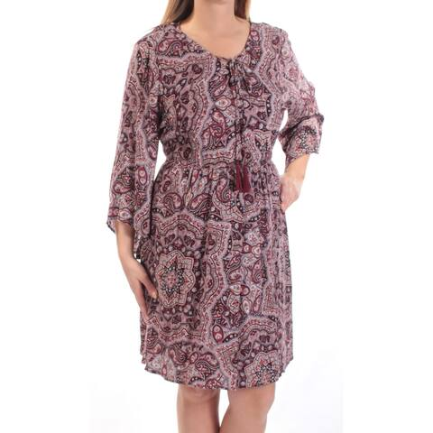AMERICAN RAG Womens Maroon Paisley Bell Sleeve V Neck Knee Length Fit + Flare Dress Plus Size: 0X
