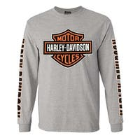 Harley-Davidson Men's Bar & Shield Long Sleeve Crew-Neck Shirt, Gray 30297501