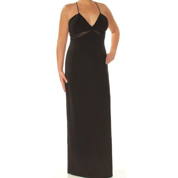 07ddadb6db AIDANMATTOX Womens Black Lace Beaded Spaghetti Strap V Neck Full-Length  Empire Waist Formal Dress Size: 12