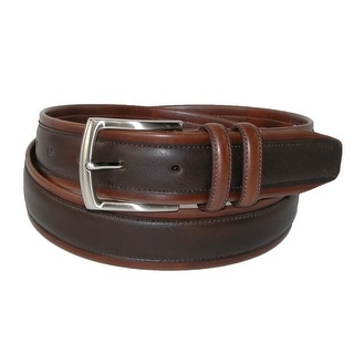 Nautica Men's Tubular Leather with Overlay 1 3/8 Inch Belt - Brown