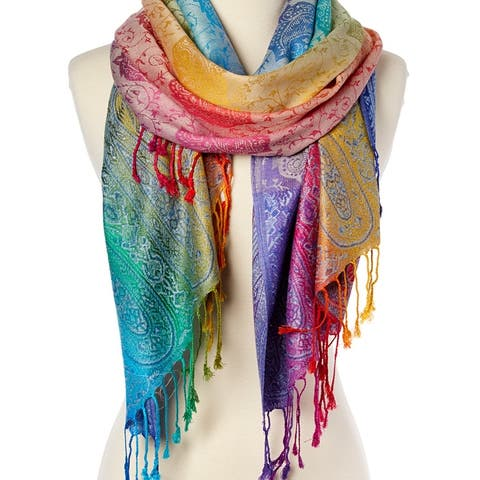 Women's Long Cashmere Scarf Luxury Silk Warm Pashmina Shawl Wraps For Winter Lightweight Paisley Scarves For Women