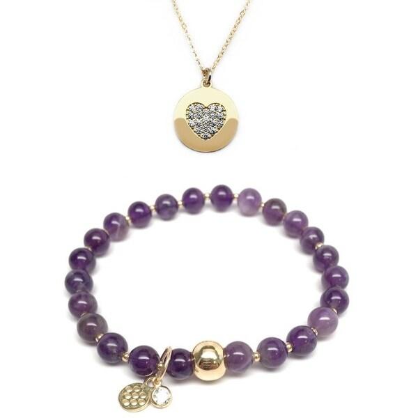 """Purple Amethyst 7"""" Bracelet & CZ Heart Disc Gold Charm Necklace Set"""