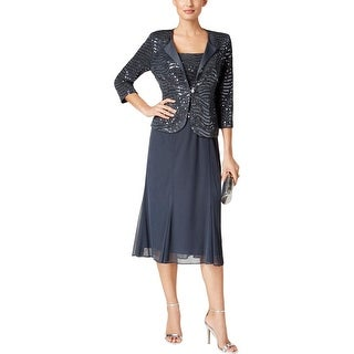 Alex Evenings Womens Dress With Jacket Chiffon Sequined - 10