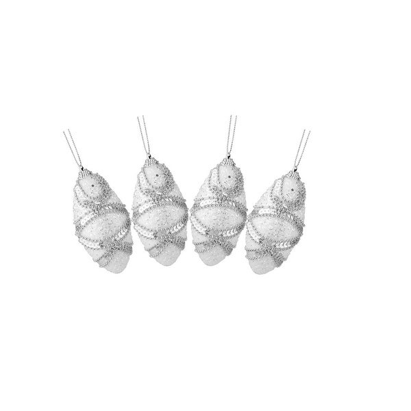 """4ct White, Holographic Sequined and Silver Beaded Shatterproof Christmas Finial Ornaments 4.5"""""""