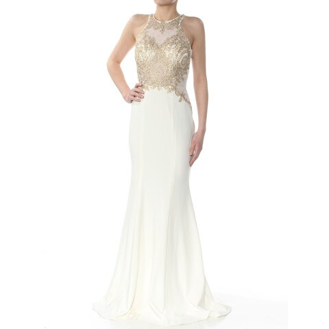 XSCAPE Womens Ivory Beaded & Embroidered Gown Sleeveless Jewel Neck Full-Length Sheath Formal Dress Size: 2