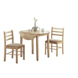 Monarch Specialties I 1006 Three Piece Wood Dining Table Set with Drop Leaf