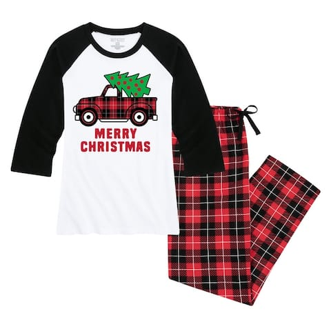 Christmas Truck - Women's Matching Family Christmas Pajama Set - White/Black