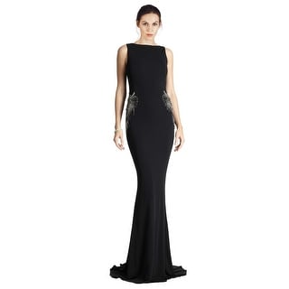 Badgley Mischka Glamorous Cowl-Back Embellished Long Dress Gown - 16
