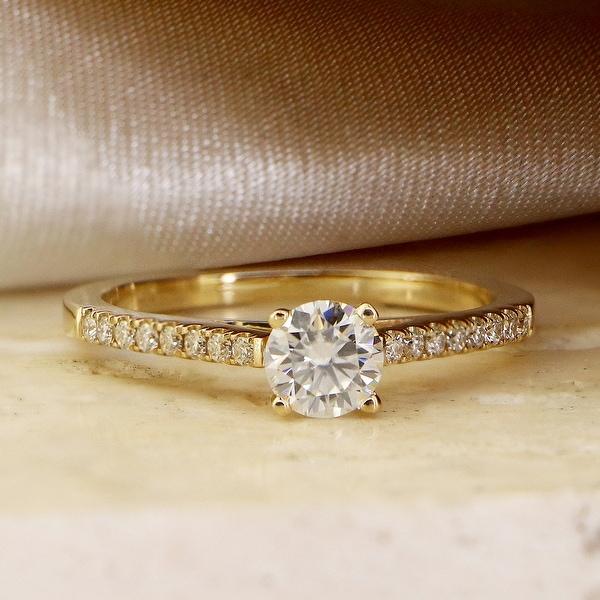 Auriya 14k Gold Round Moissanite Engagement Ring 2/3ctw. Opens flyout.