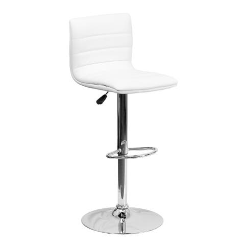 Offex Contemporary White Vinyl Adjustable Height Bar Stool with Chrome Base [OF-CH-92023-1-WH-GG]