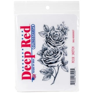 Deep Red Stamps Rose Sketch Rubber Cling Stamp - 2 x 4