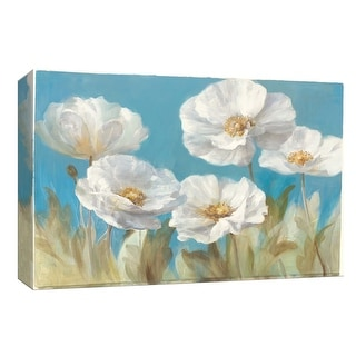 """PTM Images 9-153939  PTM Canvas Collection 8"""" x 10"""" - """"White Anemones on Blue"""" Giclee Flowers Art Print on Canvas"""