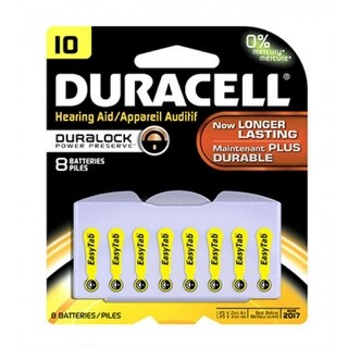"""Duracell 00275 Hearing Aid Battery with EasyTab, 10"""", 8-Pack"""