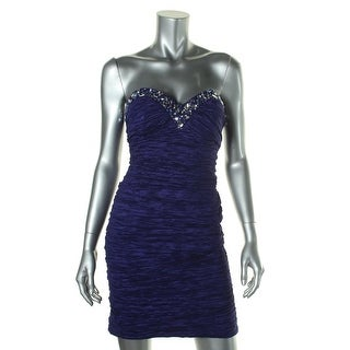 Jump Apparel Womens Juniors Crinkled Strapless Cocktail Dress - 9/10