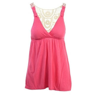 Pink Rose Womens Juniors Padded Bust Crochet Back Tank Top