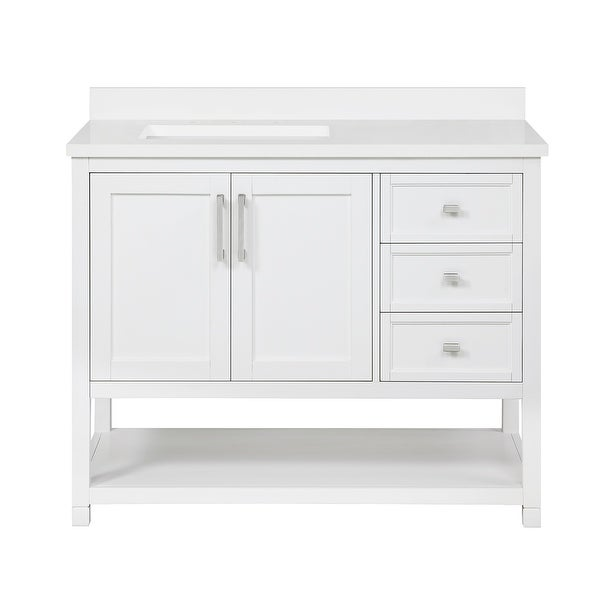 OVE Decors Stanley 42 in. Vanity in White with Power Bar. Opens flyout.