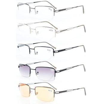 5-pack Eyekepper Rectangle Metal Half-rim Spring Hinges Reading Glasses & Computer Readers +2.0