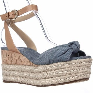MICHAEL Michael Kors Maxwell Mid Wedge Platform Ankle Strap Sandals - Denim
