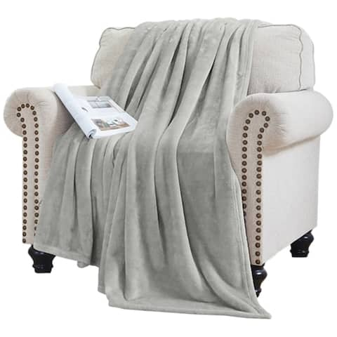 Elle Decor Solid Plush Oversized Throw Blanket - Silky Soft and Cozy Flannel Fleece, for Bed and Couch