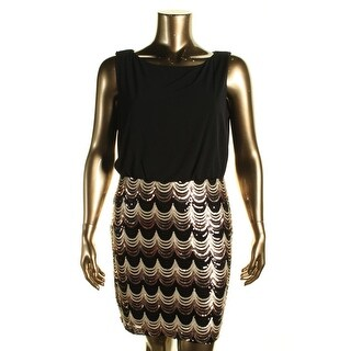 Connected Apparel Womens Petites Matte Jersey Sequined Cocktail Dress