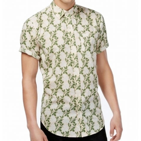Ezekiel Beige Mens Size Medium M Button Down Leaf-Printed Shirt