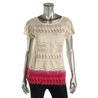 Zara Trafaluc Womens Lace Colorblock Pullover Top - S