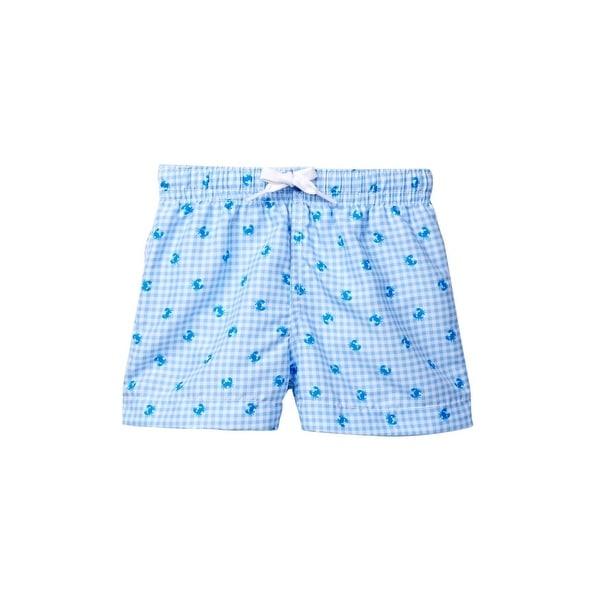 Azul Baby Boys Light Blue Checker Pattern Mr. Crabs Swim Shorts