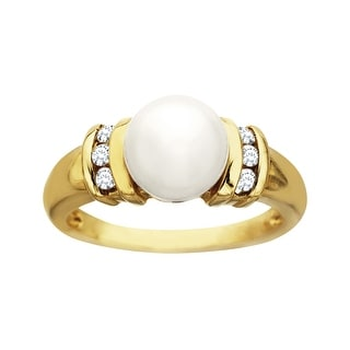 Pearl and 1/8 ct Diamond Ring in 14K Gold